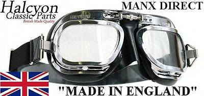 Black Halcyon Racing Mark Mk 10 Deluxe Chrome Flying Goggle Car Trike Motorcycle