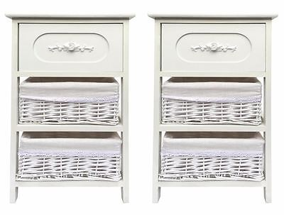 Set of 2 Wide White White Hallway Nursery Kids Bedroom Bedside Table Cabinet