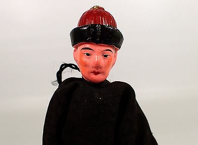 """ESTATE Antique Vtg Chinese 7 1/4"""" Hand Painted Man Doll w Wire Base Stand"""
