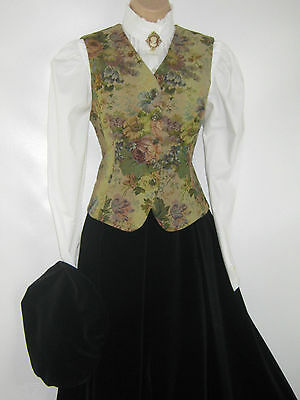 Laura Ashley Vintage Bronze Floral Victorian Steampunk Tapestry Waistcoat, 14