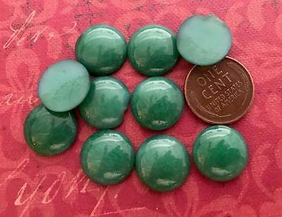 Vintage 15mm Mottled Jade Green Glass Cabs West Germany 10