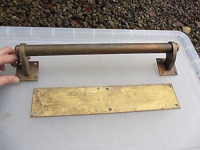 Vintage Bronze Door Handle Set Shop Pull Finger Plate Architectural Antique Deco