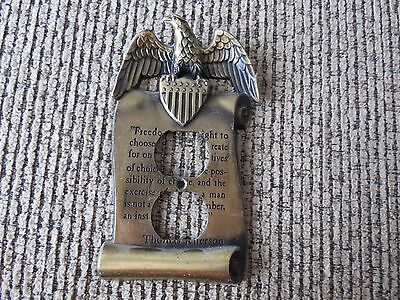 Four Vintage Brass Wall Outlet Plate Eagle Thomas Jefferson GIM 3077 1967