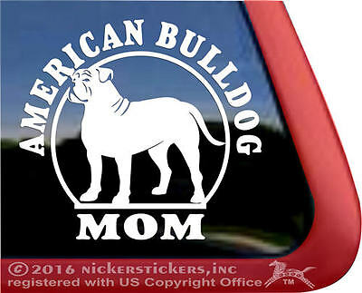 American Bulldog Mom | High Quality All-Weather Vinyl Window Dog Decal Sticker