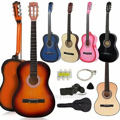 Beginners Acoustic Guitar With Guitar Case, Strap, Tuner Pick Natural USA New