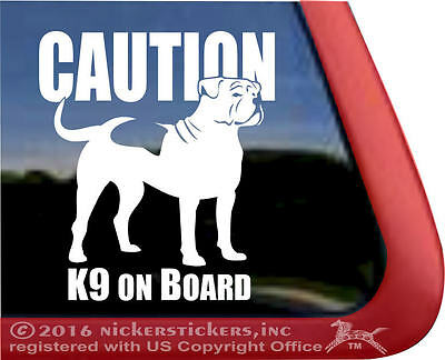 CAUTION K9 ON BOARD  | High Quality American Bulldog Vinyl Dog Decal Sticker