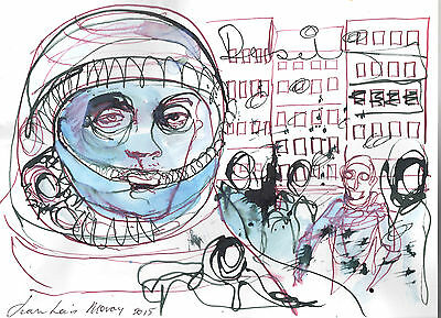 Downtowner 15-  28cm x 38 cm - Jean-Louis Moray - Mixed media on paper.