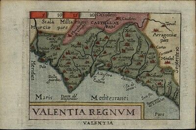 Valencia Spain 1655 Ortelius hand color charming antique miniature map