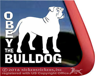OBEY THE BULLDOG | High Quality American Bulldog Vinyl Window Dog Decal Sticker