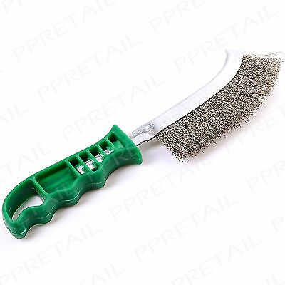 "HEAVY DUTY CURVED STEEL WIRE BRUSH 10"" Long Rust Paint Metal Remover Hand Tool"