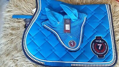New!fair Play Pyrite Azure/navy Show Jumping Saddle Pad & Fly Veil Set Size Full
