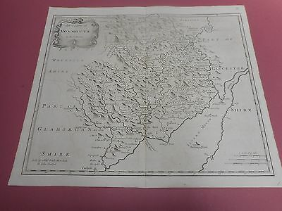 100% Original Large Monmouthshire Map By Robert Morden By C1695 Vgc