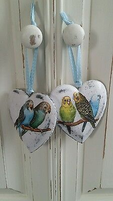 Budgie / Budgerigar Bird Ornaments, Gifts Hanging Heart Decoupage Shabby Chic