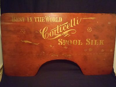 "antique Corticicelli Spool Silk lapboard w/advertising logo 36"" X 20"""