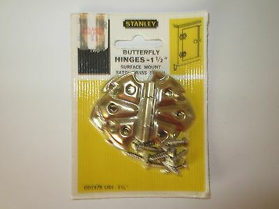 "Vintage Stanley Butterfly Hinges 1 1/2"" Surface Mount Satin Brass Finish Nos"
