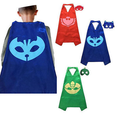 Superhero PJ Cloak Cape+Mask Owlette Catboy Cosplay Kids Birthday Costume Party