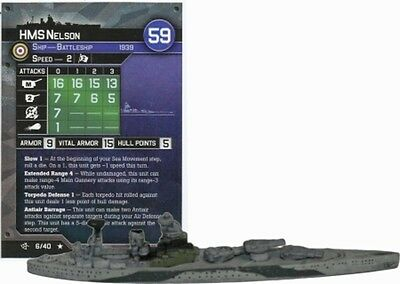 War at Sea miniatures 1x x1 HMS Nelson Surface Action NM with card
