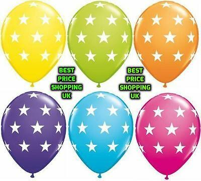 "MIX COLOUR 100 X 12"" Latex HELIUM POLKA DOT BALOONS STAR PRINTED Party Balloons"