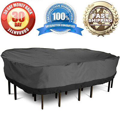 Waterproof Patio Set Cover Fit Rectangular Table & Chairs Outdoor Garden