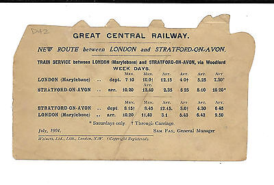 GREAT CENTRAL RAILWAY - 1904 ROUTE & TIME TABLE LONDON to STRATFORD - ADVERT