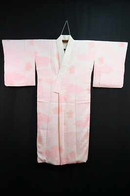 Vintage Japanese Ladies' Pink/White Shaded Sayagata Silk Juban/Kimono/Robe L/XL