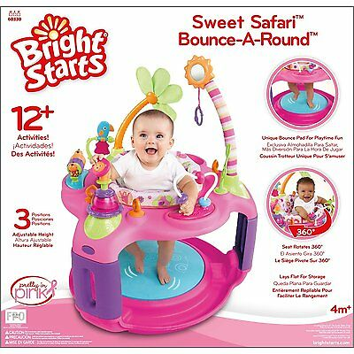 Bright Starts Sweet Safari Pink Learning Center Exersaucer Exercise Baby Gym NEW