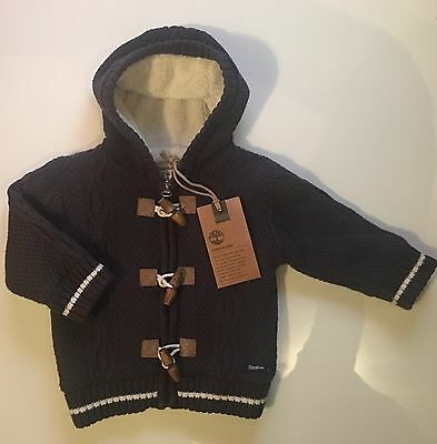 Timberland Baby Boy Cable Knitted Fur Lined Hooded Cardigan Jacket 6-12 Months