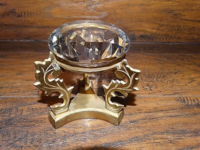 15876 Vintage BRASS  STAND with GLASS CRYSTAL BALL PRISM