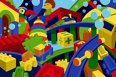 Toys Colourful Mix Kids Abstract Learning WALL ART CANVAS FRAMED OR POSTER PRINT