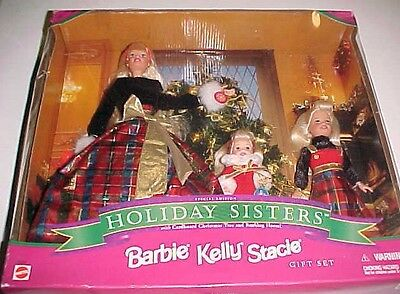 Mattel Barbie Kelly Stacie Gift Set Holiday Sisters 1998 Christmas Special New