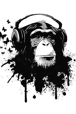 Monkey Chimp In Headphones Music B&W WALL ART CANVAS FRAMED OR POSTER PRINT