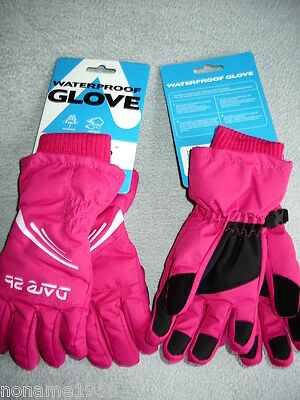 Ski Gloves Childrens Kids Snow Dare2b Waterproof Windproof Pink Age 6-7 NEW