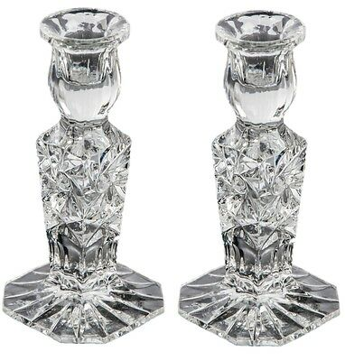 Pair of Crystal Glass Candlesticks 24% Lead Crystal Candle Holder, 15cm Tall