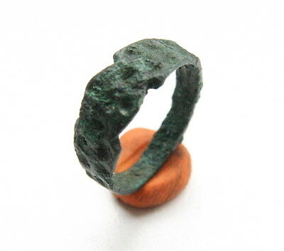 Ancient Old Viking Bronze Decorated Ring ''Thimble'' (AVG)