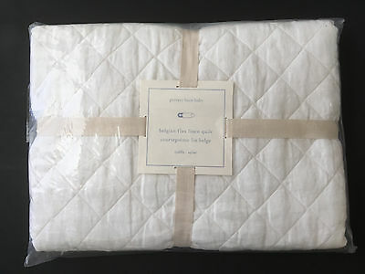 Pottery Barn Kids New Belgian Flax Linen Nursery Toddler Crib Quilt -White NWT
