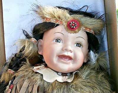 """CATHAY collection native american porcelain baby doll 19"""" long life size NIB"""