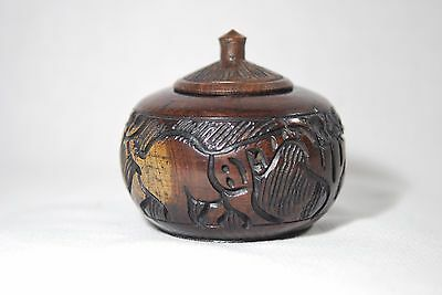 Vintage Hand Carved Turned Covered Round Wooden Lidded Container Elephant Box