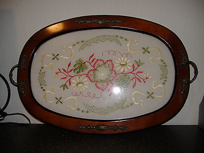 Vintage Embroidery Double Handled Wood And Oval Tray