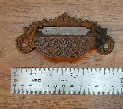 "1 Victorian Cast Iron Bin Drawer Pull,W/Label Space,4-13/16"" W  X 2-3/8"" Tall"