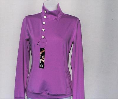 New Ladies NiVO polyester long sleeve Iris  golf mock crew golf top Small