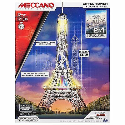 Meccano 2 IN 1 Toy Model KIT Eiffel Tower Brooklyn Bridge Brand New 6024900