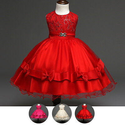 Sequins Tutu Dress Flower Girl Bow Princess Gown For Kids Birthday Wedding Party