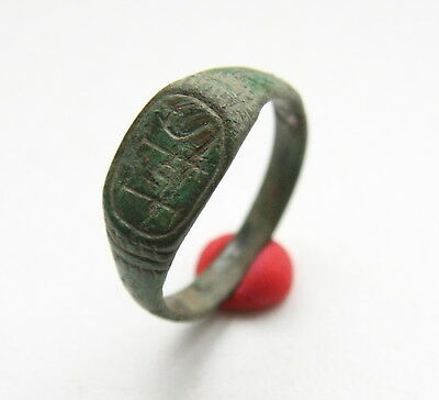 Ancient Old Medieval Bronze Ornament Ring (NBR25)