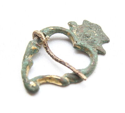 "Ancient Old Bronze Ornament Fibula ""Heart Shape"" (NOW33)"