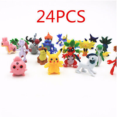24pcs Pokemon Go Monster Mini Figures Cake Toppers Party Favors, Pikachu RANDOM