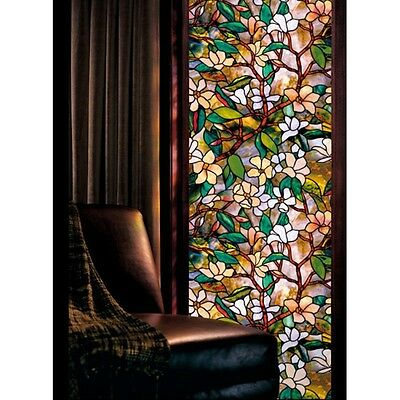 Privacy Window Film Decorative Floral Magnolia Sticker Home Stained Glass Decal