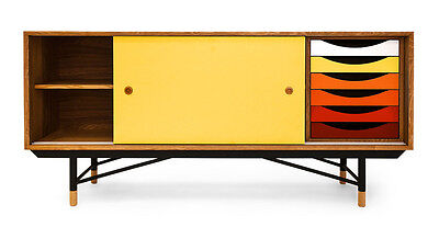 1955 Color Theory Mid-century Modern Sideboard Credenza, Walnut/Yellow Drawers