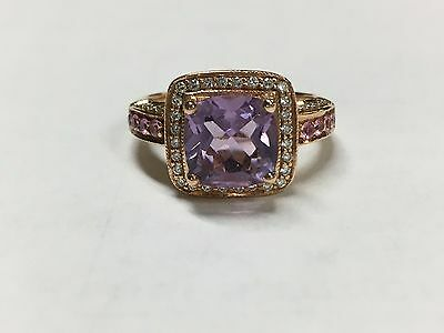 LeVian 14K Rose Gold Halo Amethyst Pink Sapphire Diamond Ring (Size 7.25)
