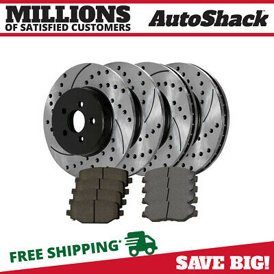 FRONT + REAR PADS 57227PK POWER DRILLED SLOTTED PLATED BRAKE DISC ROTORS