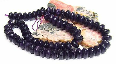 "RARE NATURAL UNTREATED AFRICAN PURPLE SUGILITE RONDELLE BEADS 15.5"" STRAND 10mm"